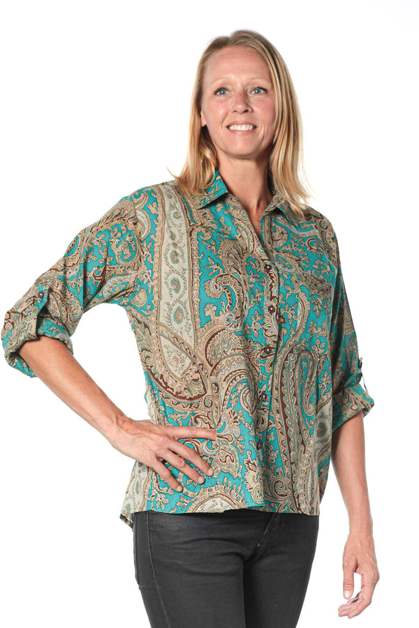 Camisa Mujer Psychedelic Turquoise