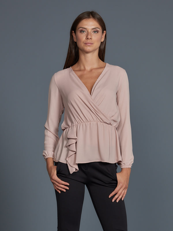 Blusa Toy G Pinko rosa scollo incrociato