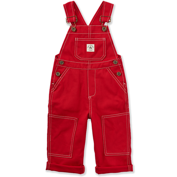 The Knee Patch Overalls Red Denim