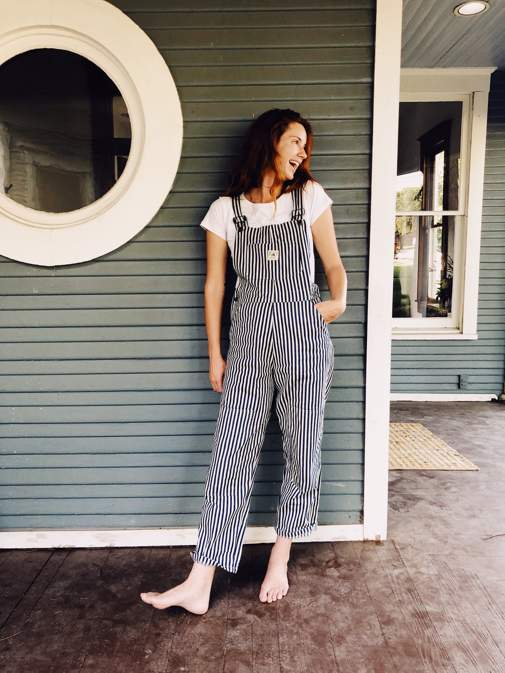 The Women's Knee Patch Overalls Conductor Stripe
