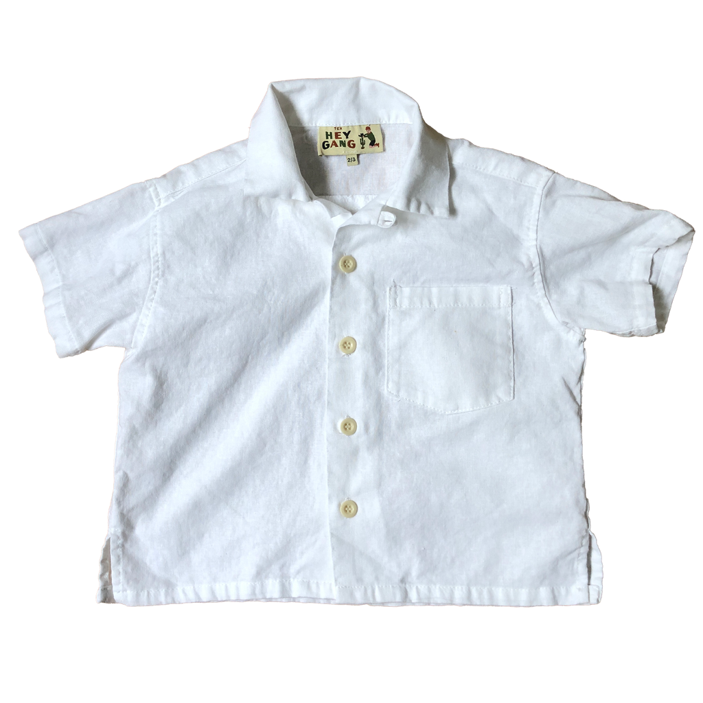 The Camp Shirt White Cotton / Linen