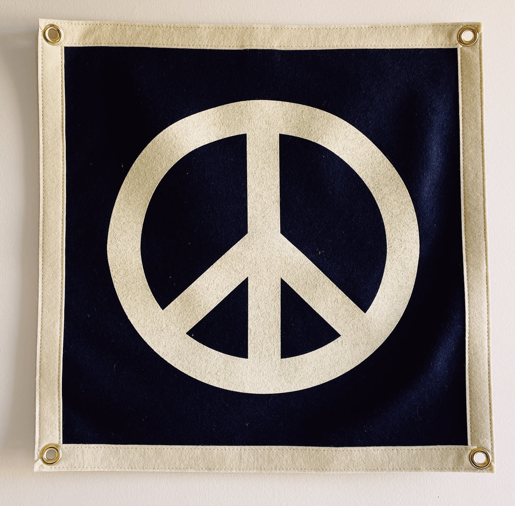 Hey Gang x Oxford Pennant Peace Sign Navy