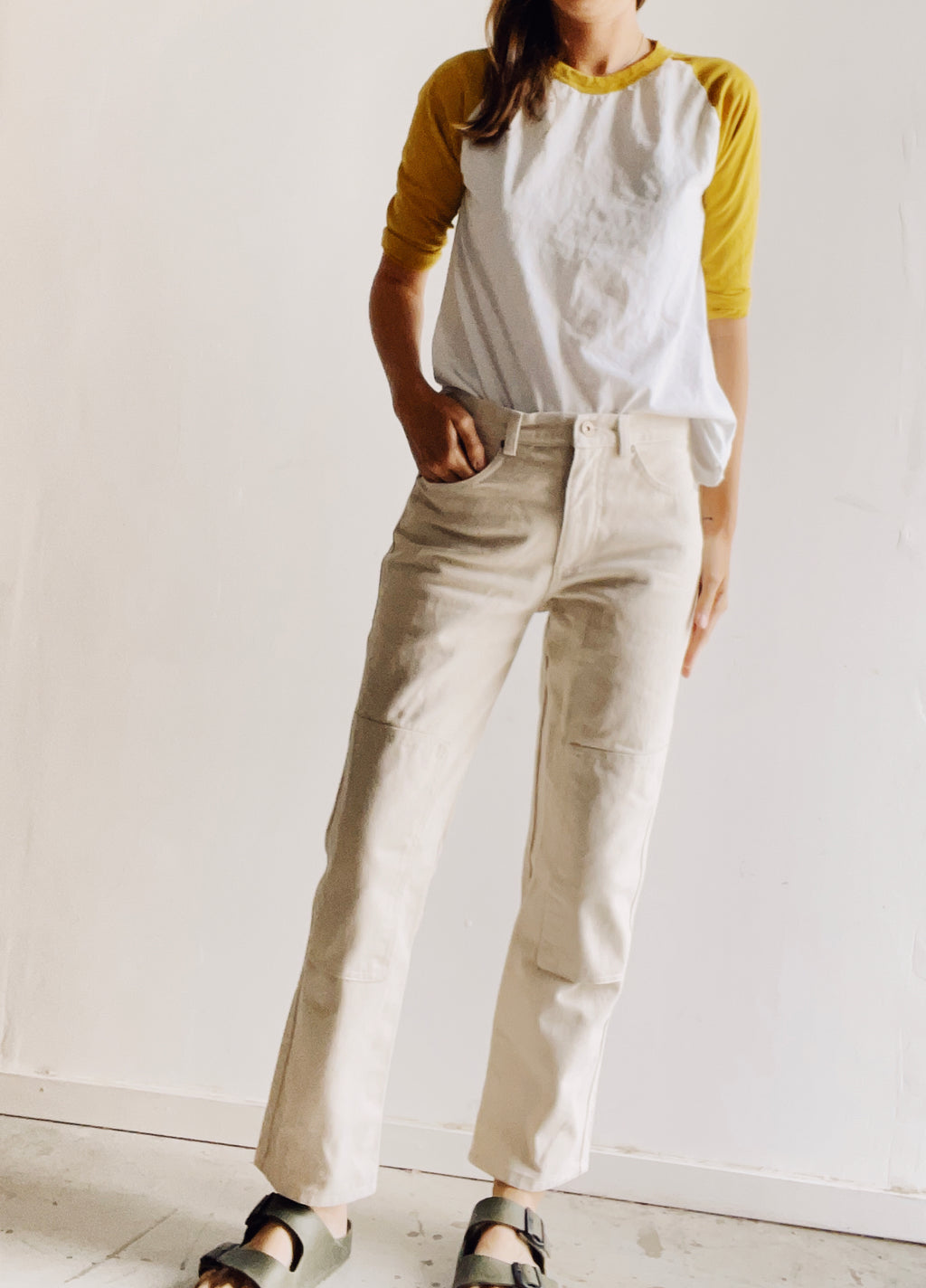 Women's Knee Patch Jeans Natural