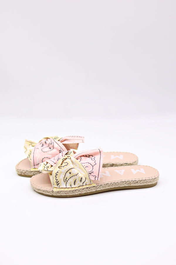 Bandana Flat Sandals with Bow