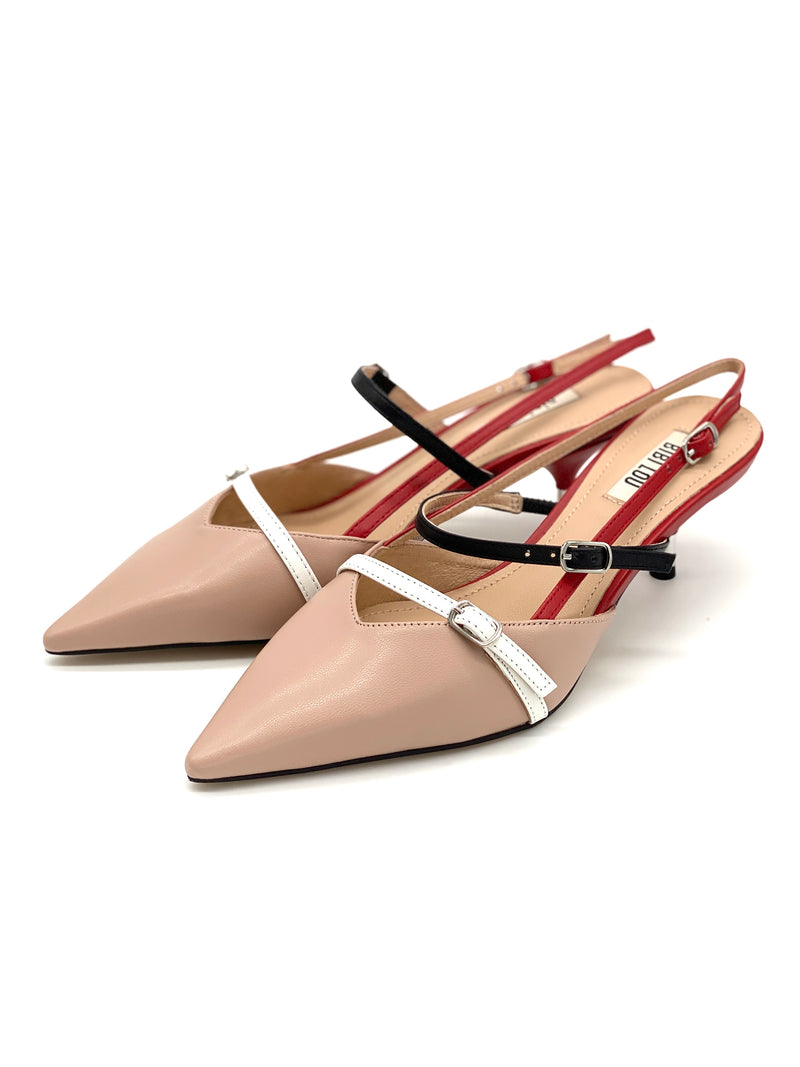 Slingpumps Beige&Red