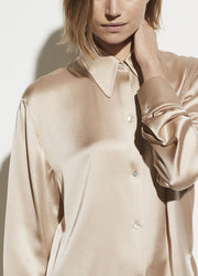 SHAPED COLLAR BLOUSE SAND