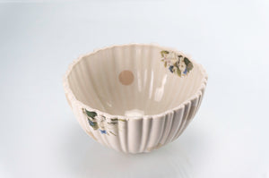Ridged Tan Dot and Flower Bowl (b-132)