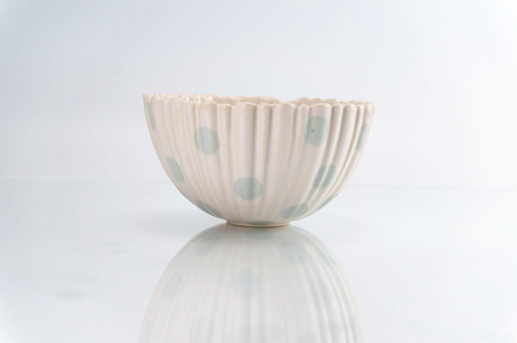 Ridged Flower and Teal Dot Bowl (b-135)