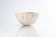 Load image into Gallery viewer, Ridged Flower and Teal Dot Bowl (b-135)