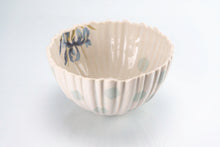Load image into Gallery viewer, Ridged Flower and Teal Dot Bowl (b-136)