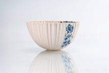 Load image into Gallery viewer, Ridged Blue Flower Bowl (b-137)