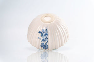 Ridged Blue Flower Bowl (b-137)