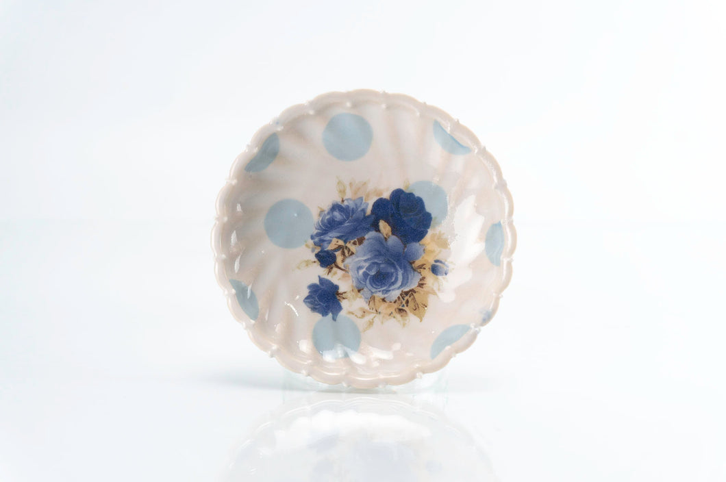 Flower and Blue Dot Round Dish (d-111)