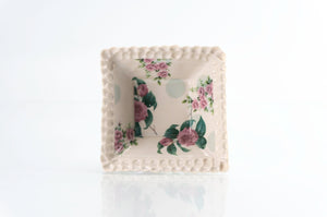 Flower and Green Dot Square Dish (d-118)