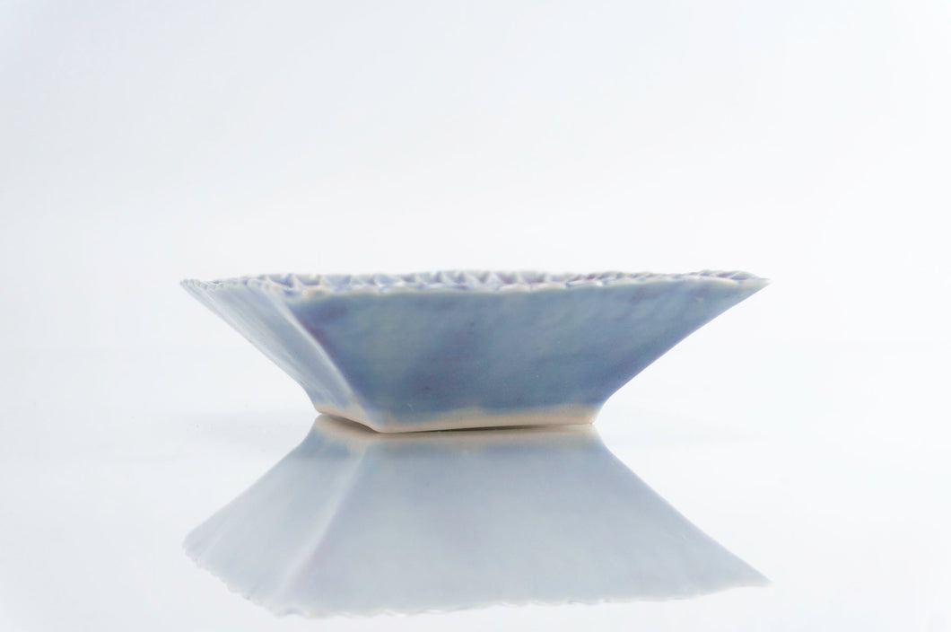 Blue Dimpled Square Dish (d-122)