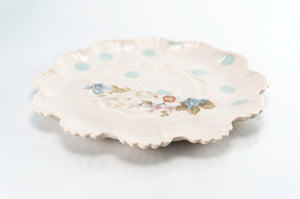 Flower and Teal Dot Medium Plate (p-280)