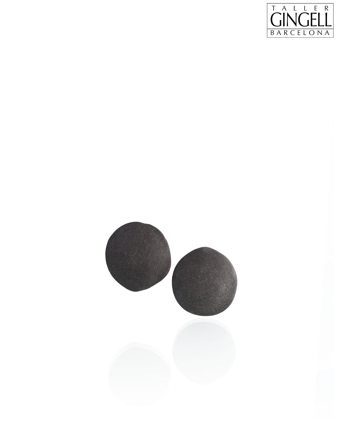 Sterling Silver and Black Porcelain Disk Earrings (j - 35)