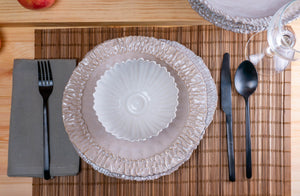 Modern Dimpled 3-Piece Place Setting | Ridged Bowl | Table Setting