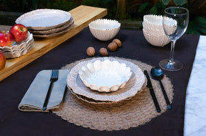 Modern Dimpled 3-Piece Place Setting | Wave Bowl | Table Setting