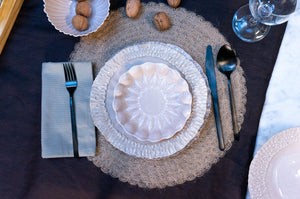 Textured Rim 3-Piece Place Setting | Wave Bowl | Table Setting