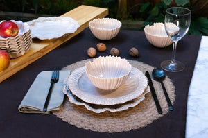 Wave Rim 3-Piece Place Setting | Ridged Bowl | Table Setting