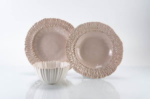 Medium Rimmed Plate 3-Piece Place Setting | Ridged Bowl | Table Setting