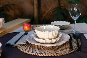 Medium Rimmed Plate 3-Piece Place Setting | Two Bowls | Table Setting