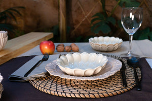 Medium Rimmed Plate 3-Piece Place Setting | Wave Bowl | Table Setting