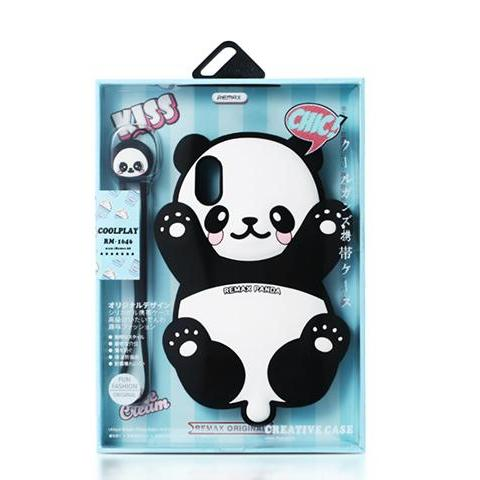 Cute Panda Soft Silicone Phone Bag Case for IPhone X with Hanging rope - Remax online