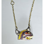 """Pacman"" Gold & Silver Fordite Necklace"