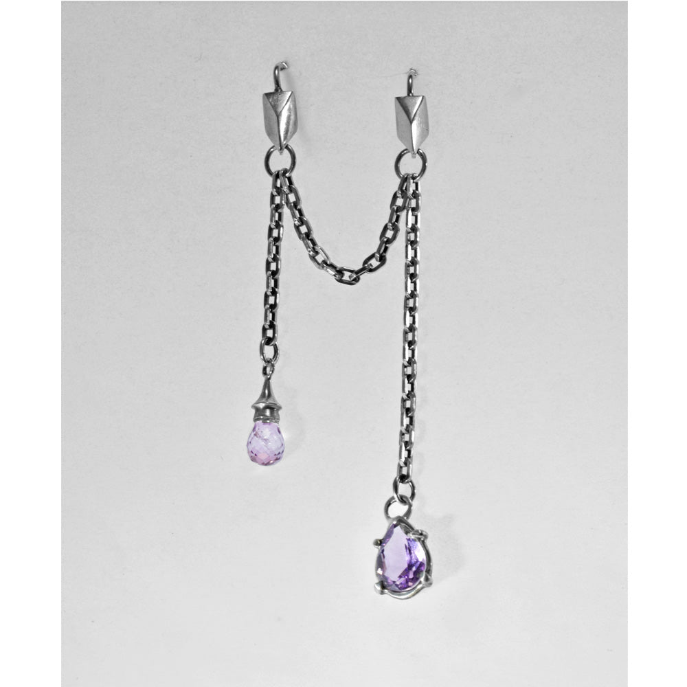 """Purple Rain"" Amethyst Double Pierce Earring"