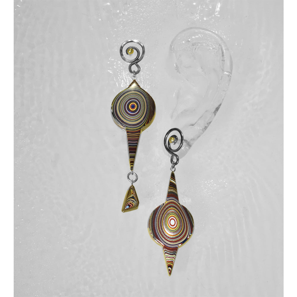 Asymmetrical Long Fordite Earrings