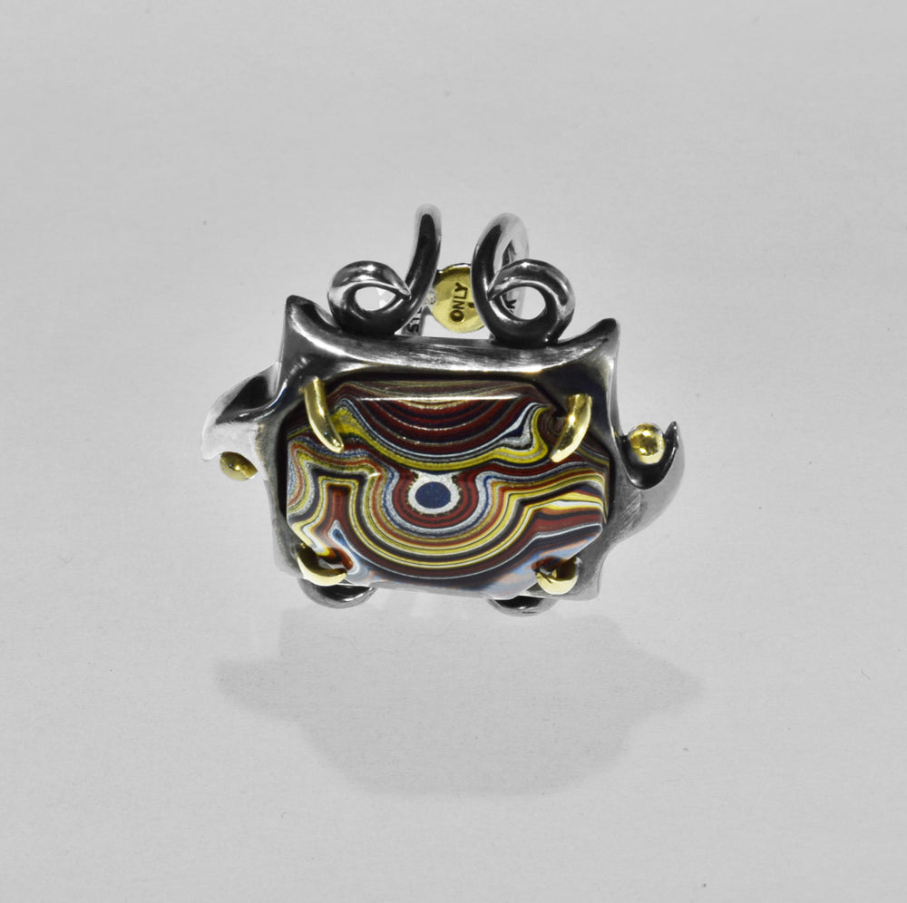 """The Devil Made Me Do It""  Fordite Ring"