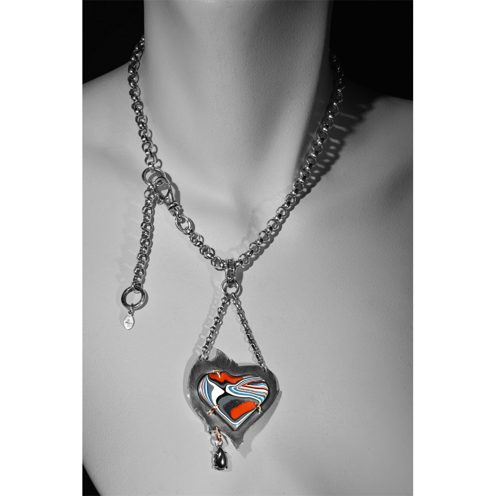 Fordite Heart Necklace