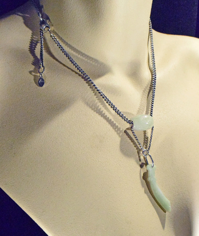 Sterling Jade Bead and Sword Necklace