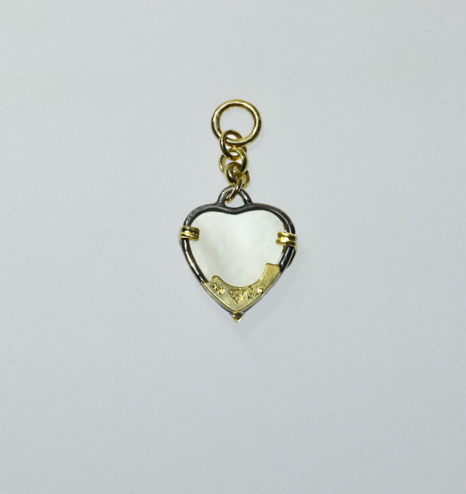 Mother-of Pearl Heart Charm, 18ky and blackened silver