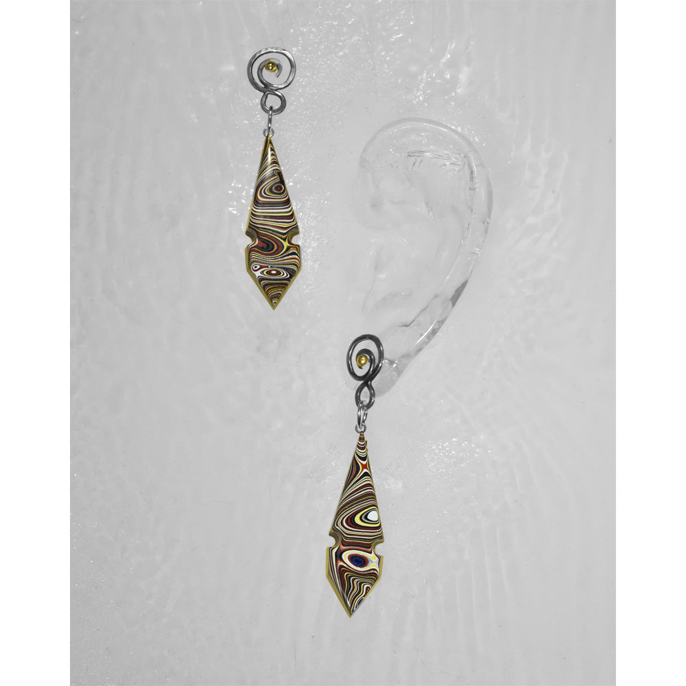 """Notched"" Long Fordite Earrings"