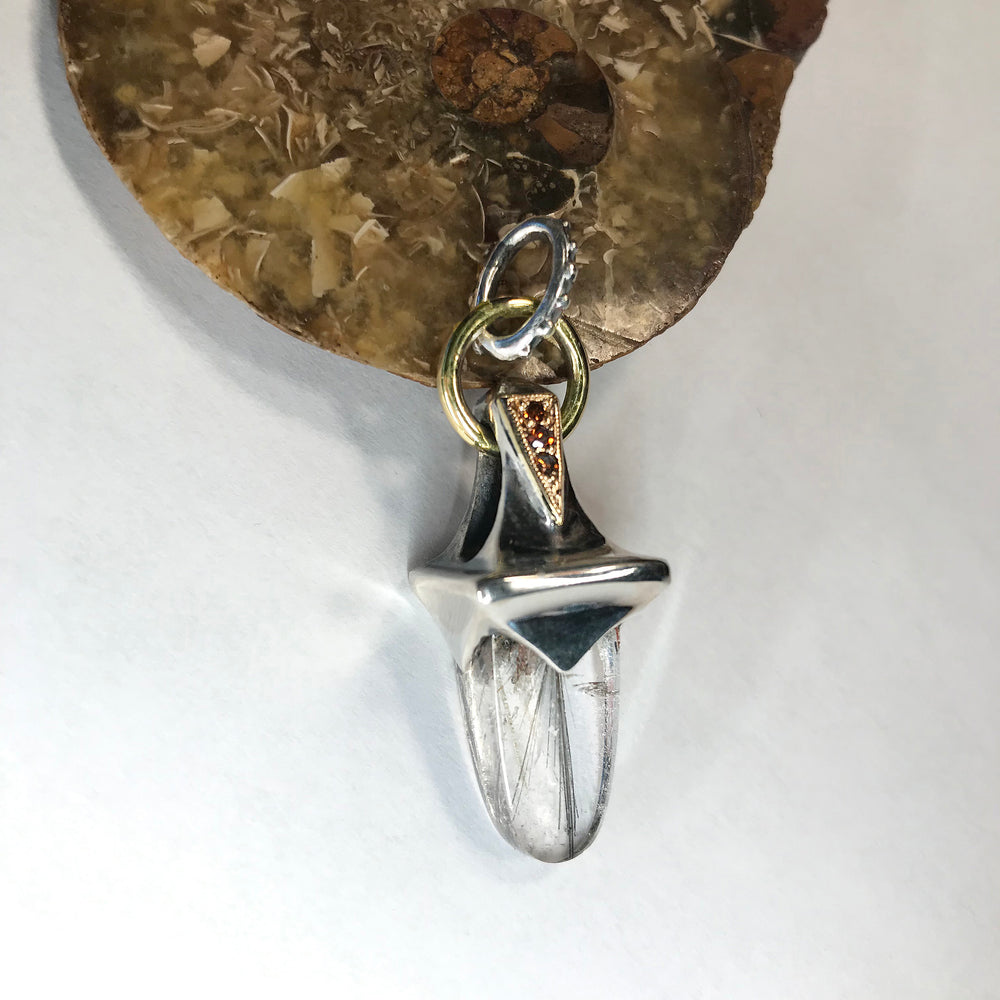 18ky & Sterling Rhutilated Quartz charm
