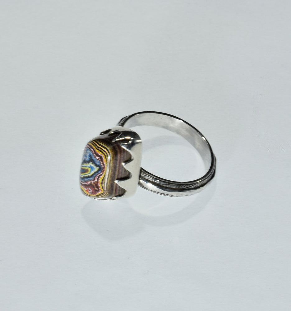 """Ring of Fire"" 3 Small Fordite Rings"