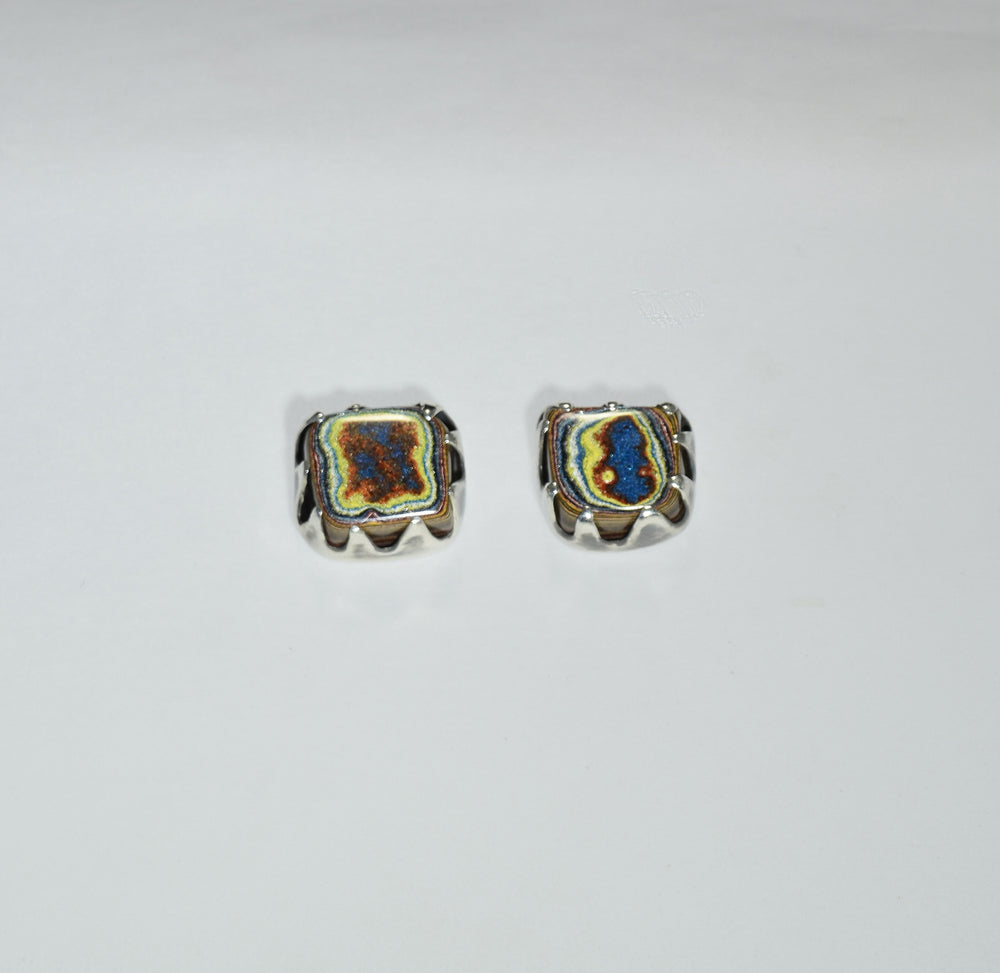 """Ring of Fire"" Fordite Stud Earrings"