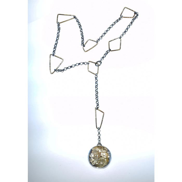 Round Pyrite Quartz Statement Necklace