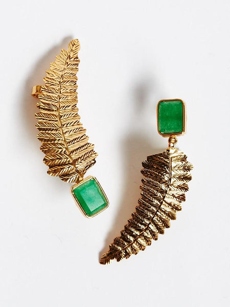 Emerald Feather Fusion Earring & Ear Cuff (Feather Earring)