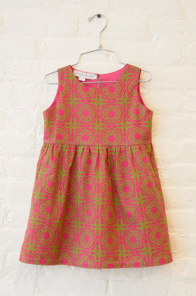 The Girls' Lawn Cotton Twirly Dress (Hibiscus)