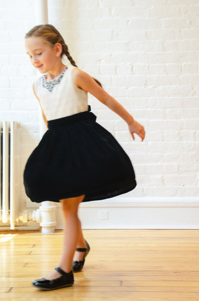 Twirly Dress with White Top & Black Velvet Skirt