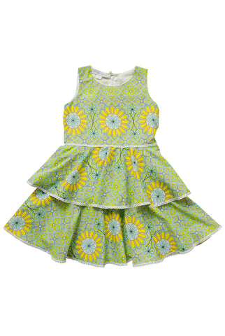 Mini Martina Ruffle Dress in Yellow and Turquoise Print