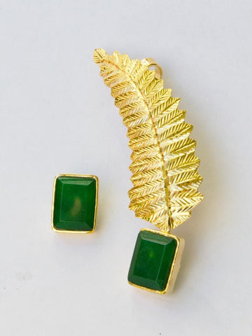 Emerald Feather Fusion Earring & Ear Cuff (Stud Earring)