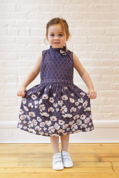 The Elizabeth Holiday Dress in Cascade Floral Print (Violet)