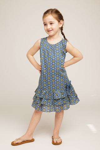 Emiline Girls' Ruffle Dress in Freesia Print