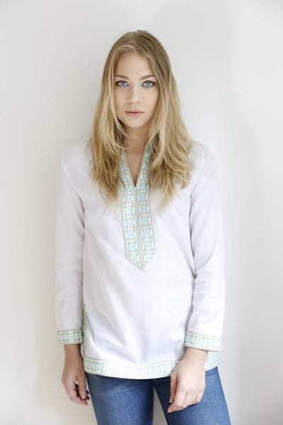 The Sammi Classic Tunic (Turquoise & Lime Green Embroidery)
