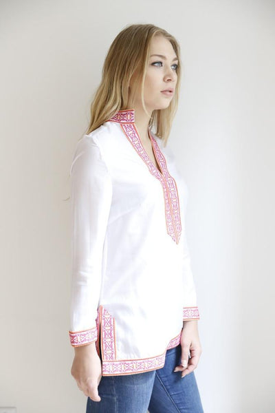 The Sammi Classic Tunic (Pink & Orange Embroidery)